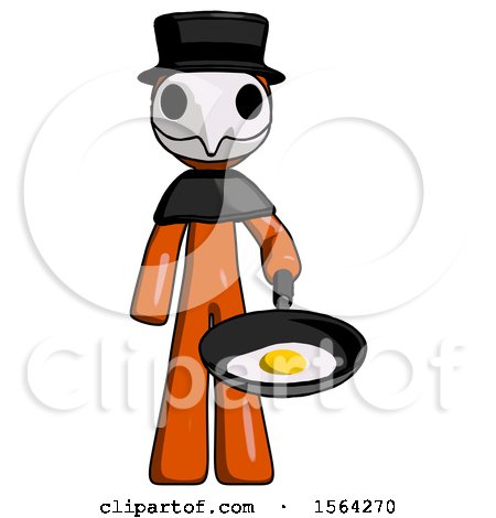 Orange Plague Doctor Man Frying Egg in Pan or Wok by Leo Blanchette