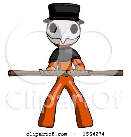 Orange Plague Doctor Man Bo Staff Kung Fu Defense Pose by Leo Blanchette