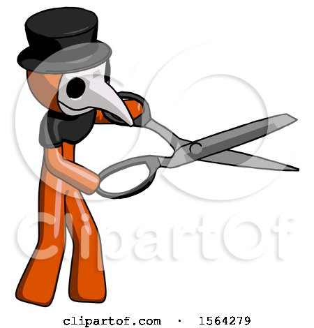 Orange Plague Doctor Man Holding Giant Scissors Cutting out Something by Leo Blanchette