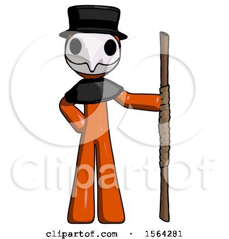 Orange Plague Doctor Man Holding Staff or Bo Staff by Leo Blanchette