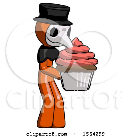 Orange Plague Doctor Man Holding Large Cupcake Ready to Eat or Serve by Leo Blanchette