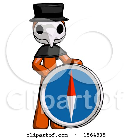 Orange Plague Doctor Man Standing Beside Large Compass by Leo Blanchette