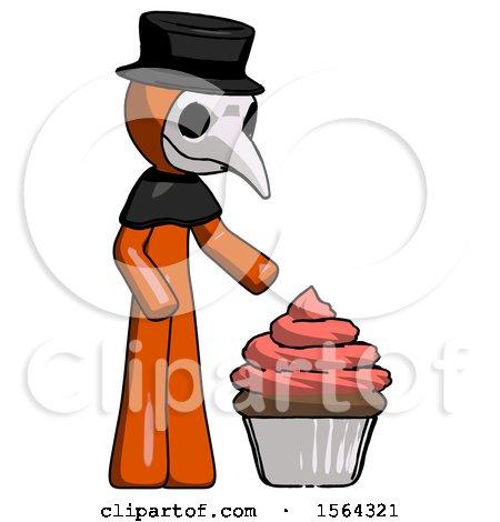Orange Plague Doctor Man with Giant Cupcake Dessert by Leo Blanchette