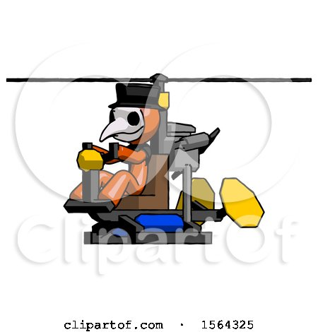 Orange Plague Doctor Man Flying in Gyrocopter Front Side Angle View by Leo Blanchette