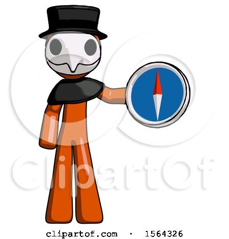 Orange Plague Doctor Man Holding a Large Compass by Leo Blanchette