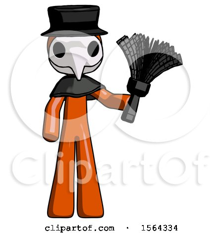 Orange Plague Doctor Man Holding Feather Duster Facing Forward by Leo Blanchette