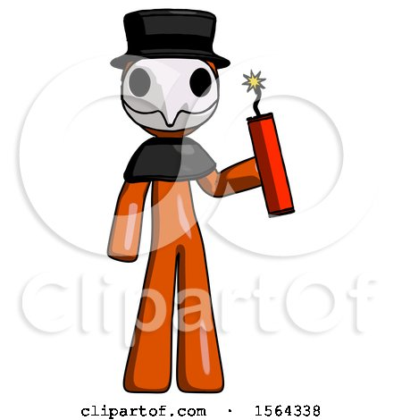 Orange Plague Doctor Man Holding Dynamite with Fuse Lit by Leo Blanchette