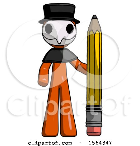 Orange Plague Doctor Man with Large Pencil Standing Ready to Write by Leo Blanchette