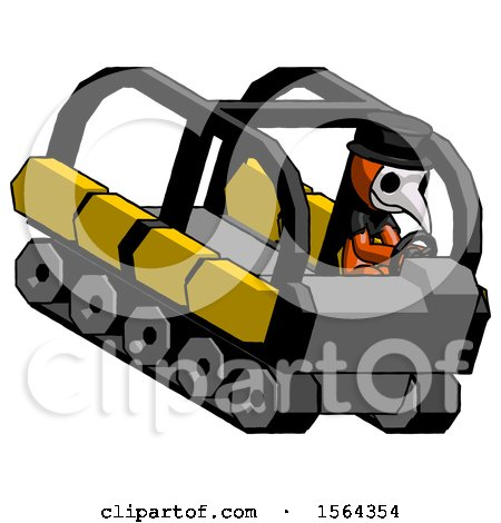 Orange Plague Doctor Man Driving Amphibious Tracked Vehicle Top Angle View by Leo Blanchette