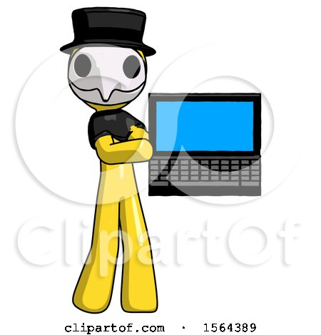 Yellow Plague Doctor Man Holding Laptop Computer Presenting Something on Screen by Leo Blanchette