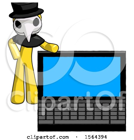 Yellow Plague Doctor Man Beside Large Laptop Computer, Leaning Against It by Leo Blanchette