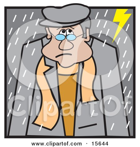 Sad Man Walking Outside In A Lightning And Rain Storm Clipart Illustration by Andy Nortnik