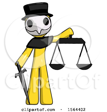 Yellow Plague Doctor Man Justice Concept with Scales and Sword, Justicia Derived by Leo Blanchette