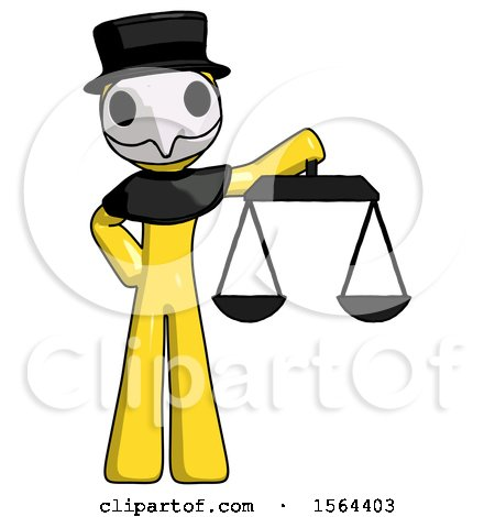 Yellow Plague Doctor Man Holding Scales of Justice by Leo Blanchette