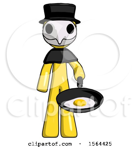Yellow Plague Doctor Man Frying Egg in Pan or Wok by Leo Blanchette