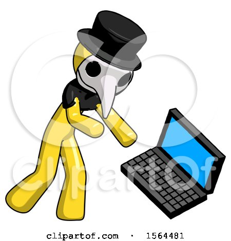 Yellow Plague Doctor Man Throwing Laptop Computer in Frustration by Leo Blanchette