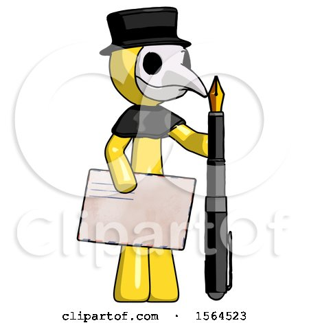 Yellow Plague Doctor Man Holding Large Envelope and Calligraphy Pen by Leo Blanchette