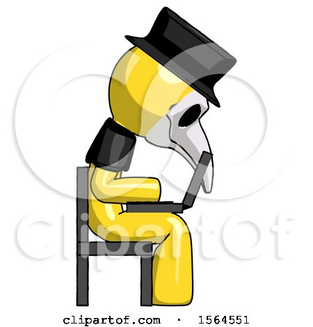 Yellow Plague Doctor Man Using Laptop Computer While Sitting in Chair View from Side by Leo Blanchette
