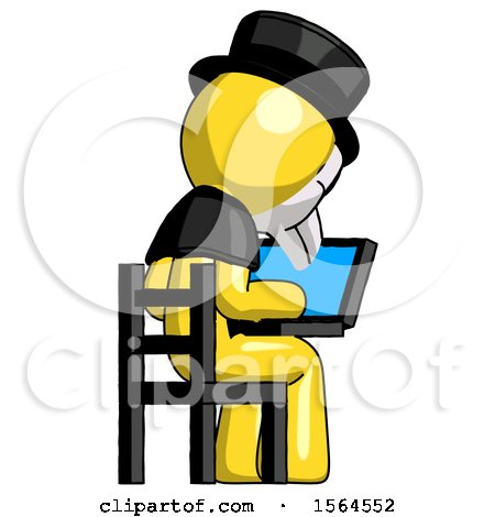 Yellow Plague Doctor Man Using Laptop Computer While Sitting in Chair View from Back by Leo Blanchette