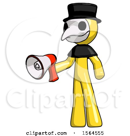 Yellow Plague Doctor Man Holding Megaphone Bullhorn Facing Right by Leo Blanchette