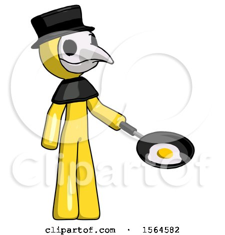 Yellow Plague Doctor Man Frying Egg in Pan or Wok Facing Right by Leo Blanchette