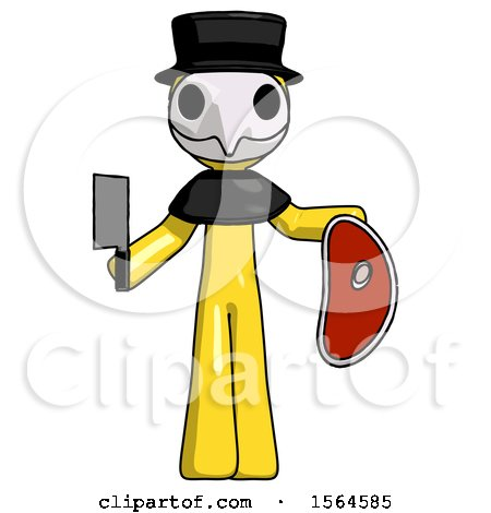 Yellow Plague Doctor Man Holding Large Steak with Butcher Knife by Leo Blanchette