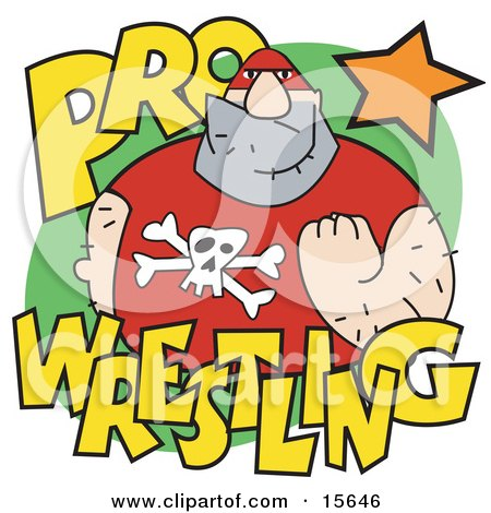 Tough Male Pro Wrestler Clenching His Fist Clipart Illustration by Andy Nortnik
