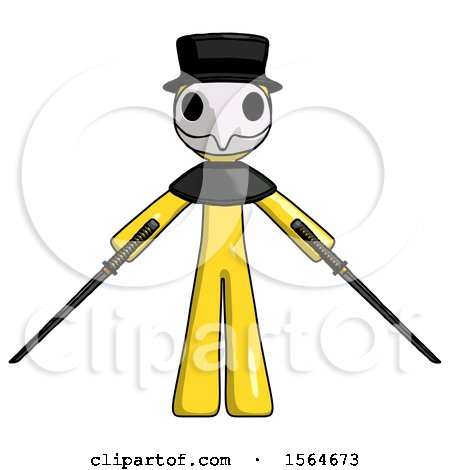 Yellow Plague Doctor Man Posing with Two Ninja Sword Katanas by Leo Blanchette