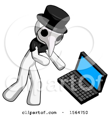 White Plague Doctor Man Throwing Laptop Computer in Frustration by Leo Blanchette