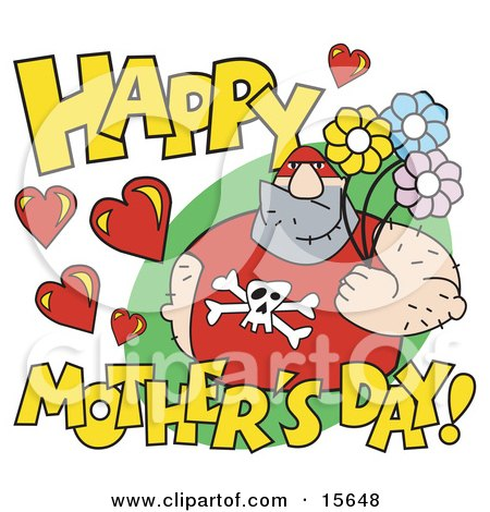 Big Male Pro Wrestler Holding Flowers With Happy Mother's Day Text Clipart Illustration by Andy Nortnik