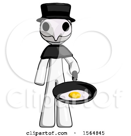 White Plague Doctor Man Frying Egg in Pan or Wok by Leo Blanchette