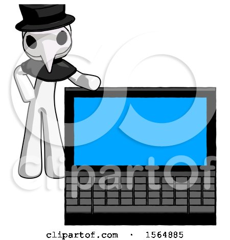 White Plague Doctor Man Beside Large Laptop Computer, Leaning Against It by Leo Blanchette
