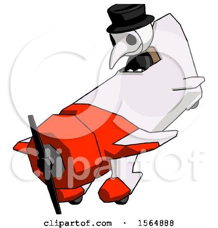 White Plague Doctor Man in Geebee Stunt Plane Descending View by Leo Blanchette