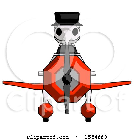 White Plague Doctor Man in Geebee Stunt Plane Front View by Leo Blanchette