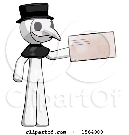 White Plague Doctor Man Holding Large Envelope by Leo Blanchette