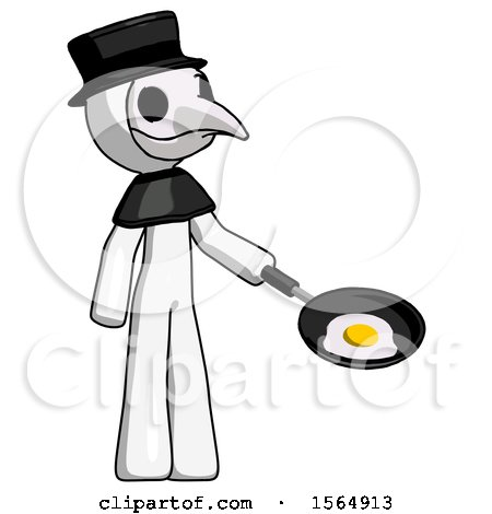 White Plague Doctor Man Frying Egg in Pan or Wok Facing Right by Leo Blanchette