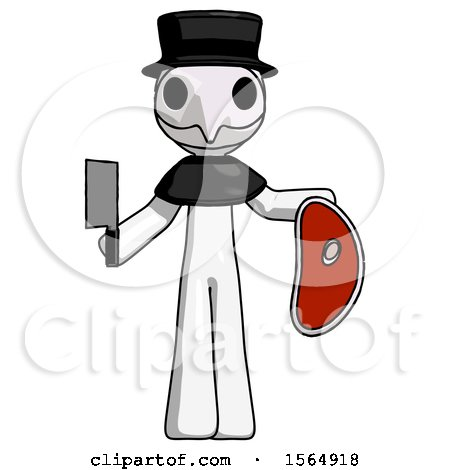 White Plague Doctor Man Holding Large Steak with Butcher Knife by Leo Blanchette