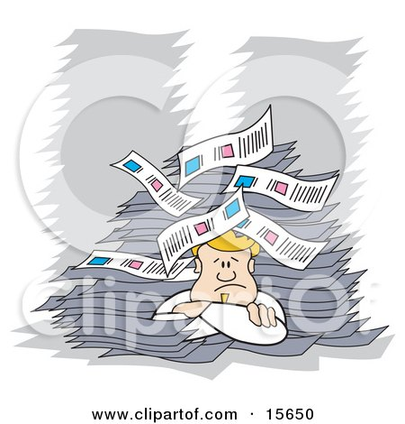 Blond Male Office Employee Resting His Head On His Arms And Giving Up After Being Buried In Paperwork Clipart Illustration by Andy Nortnik