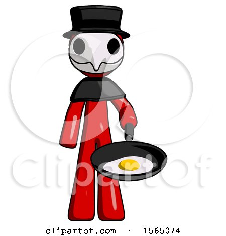 Red Plague Doctor Man Frying Egg in Pan or Wok by Leo Blanchette