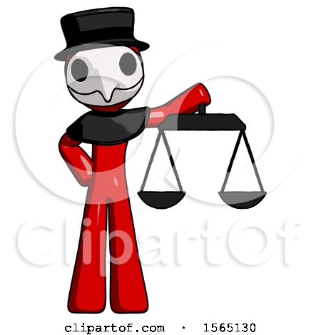 Red Plague Doctor Man Holding Scales of Justice by Leo Blanchette