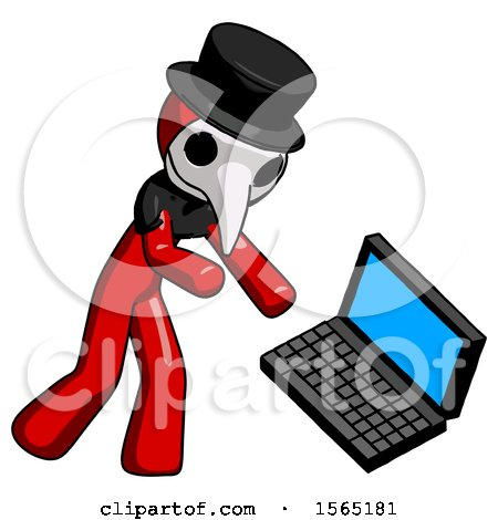Red Plague Doctor Man Throwing Laptop Computer in Frustration by Leo Blanchette