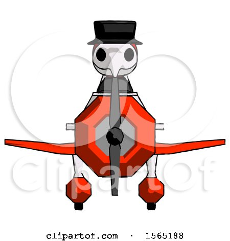 Red Plague Doctor Man in Geebee Stunt Plane Front View by Leo Blanchette