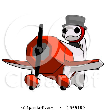 Red Plague Doctor Man Flying in Geebee Stunt Plane Viewed from Below by Leo Blanchette