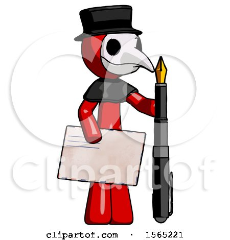 Red Plague Doctor Man Holding Large Envelope and Calligraphy Pen by Leo Blanchette