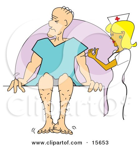 Pretty Blond Female Nurse Giving A Man A Vaccination Shot As He Sits And Twitches In A Hospital Gown Clipart Illustration