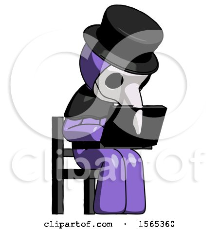 Purple Plague Doctor Man Using Laptop Computer While Sitting in Chair Angled Right by Leo Blanchette