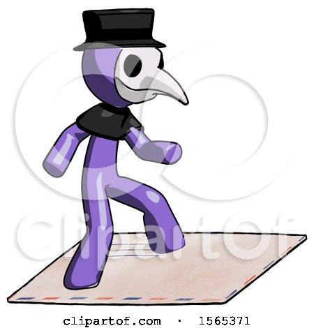 Purple Plague Doctor Man on Postage Envelope Surfing by Leo Blanchette