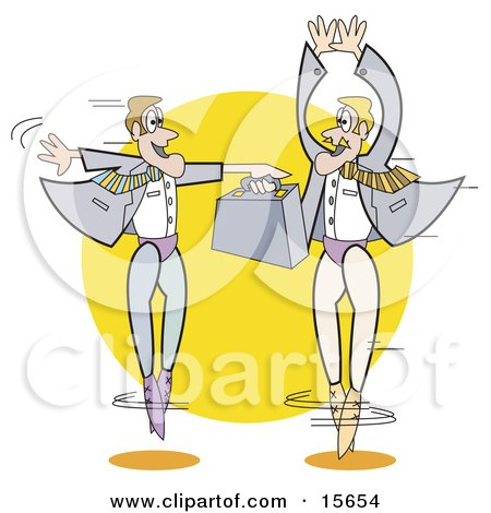 Couple Of Businessmen In Tights, Ballet Dancing With A Briefcase Clipart Illustration by Andy Nortnik