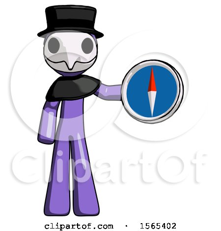 Purple Plague Doctor Man Holding a Large Compass by Leo Blanchette