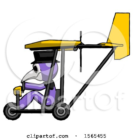 Purple Plague Doctor Man in Ultralight Aircraft Side View by Leo Blanchette